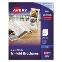 Avery Tri-Fold Brochures for Inkjet Printers, 8 1/2 x 11, White, 100 Sheets/Box AVE8324