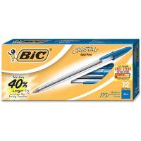BIC Cristal Xtra Smooth Ballpoint Stick Pen, Blue Ink, 1mm, Medium, Dozen BICMS11BE