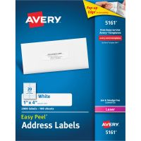 Avery Easy Peel Mailing Address Labels, Laser, 1 x 4, White, 2000/Box AVE5161
