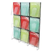 deflecto Stand-Tall 9-Bin Wall-Mount Literature Rack, Mag, 27 3/8 x 35 1/4, Clear/Black DEF56801