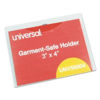 Universal Clear Badge Holders w/Garment-Safe Clips, 3 x 4, White Inserts, 50/Box UNV56004