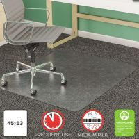 deflecto SuperMat Frequent Use Chair Mat, Medium Pile Carpet, Beveled, 45 x 53, Clear DEFCM14243