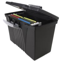 Storex Portable File Storage Box w/Organizer Lid, Letter/Legal, Black STX61510U01C