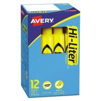 Avery HI-LITER Desk-Style Highlighter, Chisel Tip, Yellow Ink, Dozen AVE07742