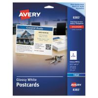 Avery Photo-Quality Glossy Postcards for Inkjet Printers, 4 1/4 x 5 1/2, White, 100/Pk AVE8383