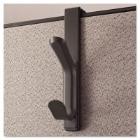 Universal Recycled Cubicle Double Coat Hook, Plastic, Charcoal UNV08607