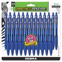 Zebra Z-Grip Retractable Ballpoint Pen, Blue Ink, Medium, 24/Pack ZEB12225