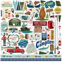 """Gone Camping Cardstock Stickers 12""""X12"""" NOTM463787"""