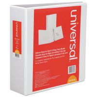 "Universal Deluxe Easy-to-Open 3-Ring View Binder, 3"" Capacity, D-Ring, White UNV30752"