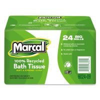 Marcal 100% Recycled Toilet Paper Roll, 2-Ply, White, 3 7/10 x 4 33/100 Sheet, 168 Sheets/Roll, 24 Rolls/Carton MRC6024