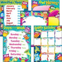 Trend PreK-3 Owl-Stars Basic Learning Charts Combo TEP38959