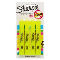 Sharpie Accent Tank Style Highlighter, Chisel Tip, Fluorescent Yellow, 4/Set SAN25164PP