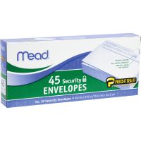 "Mead Press-it Seal-it No. 10 Security Envelopes, #10 (4.13"" x 9.50""), Peel & Seal, 45 Envelopes/ Box MEA75026"
