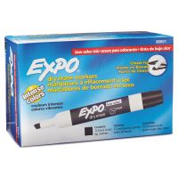 EXPO Low Odor Dry Erase Marker, Chisel Tip, Black, Dozen SAN80001