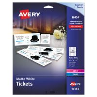 Avery Printable Tickets w/Tear-Away Stubs, 8 1/2 x 11, White, 10/Sheet, 20Sheets/Pack AVE16154