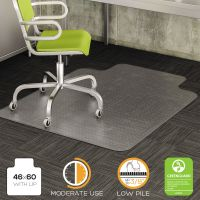 deflecto DuraMat Moderate Use Chair Mat for Low Pile Carpet, Beveled, 46x60 w/Lip, Clear DEFCM13433F