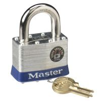 "Master Lock Four-Pin Tumbler Laminated Steel Lock, 2"" Wide, Silver/Blue, Two Keys MLK5D"