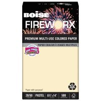Boise FIREWORX Colored Paper, 20 lb, 8 1/2 x 14, Flashing Ivory, 500 Sheets/Ream CASMP2204IY