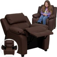 Flash Furniture Deluxe Heavily Padded Contemporary Brown Leather Kids Recliner with Storage Arms [BT-7985-KID-BRN-LEA-GG] FHFBT7985KIDBRNLEAGG