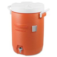 "Rubbermaid Commercial Insulated Water Cooler, 5 Gal, Orange, 10""Dia x 19 1/2""H, Polyethylene RCP1840999"