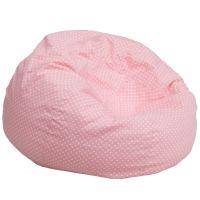Flash Furniture Oversized Light Pink Dot Bean Bag Chair FHFDGBEANLARGEDOTPKGG