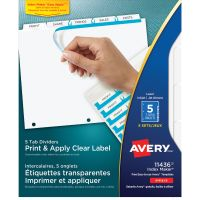 Avery Print & Apply Clear Label Dividers, 5-Tab, White Tab, Letter, 5 Sets AVE11436