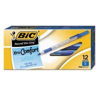 BIC Round Stic Grip Xtra Comfort Ballpoint Pen, Blue Ink, .8mm, Fine, Dozen BICGSFG11BE