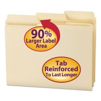 Smead SuperTab Guide Height Reinforced Folders, Top Tab, Letter, Manila, 100/Box SMD10395