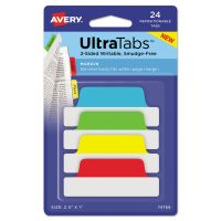 Avery Ultra Tabs Repositionable Tabs, 2.5 x 1, Primary:Green, Red, Yellow, Blue, 24/PK AVE74768