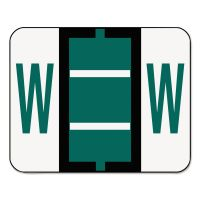 Smead A-Z Color-Coded Bar-Style End Tab Labels, Letter W, Dark Green, 500/Roll SMD67093