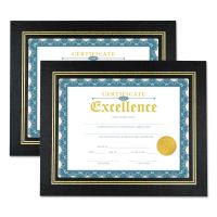 Universal Leatherette Document Frame, Certificate/Document, 11 x 8 1/2, Black, 2/PK UNV76838