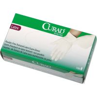 Curad Latex Exam Gloves, Powder-Free, Large, 100/Box MIICUR8106