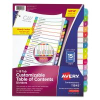 Avery Ready Index Table of Contents Dividers, Multicolor Tabs, 1-15, Letter AVE11845