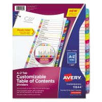 Avery Ready Index Table of Contents Dividers, Multicolor Tabs, A-Z, Letter AVE11844
