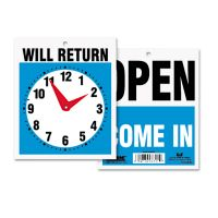 Headline Sign Double-Sided Open/Will Return Sign w/Clock Hands, Plastic, 7 1/2 x 9 USS9382