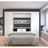 """Bestar Nebula by Bestar 109"""" Full Wall bed kit in White BESBES2589417"""