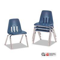 "Virco 9000 Series Classroom Chairs, 12"" Seat Height, Navy/Chrome, 4/Carton VIR901251"