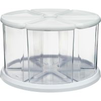 deflecto Six Canister Carousel Organizer, Plastic, 11 1/8 x 11 1/8, White/Clear DEF3900CR