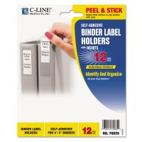 C-Line Self-Adhesive Ring Binder Label Holders, Top Load, 2 1/4 x 3 5/8, Clear, 12/Pack CLI70025
