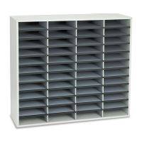 Fellowes Literature Organizer, 48 Letter Sections, 38 1/4 x 11 7/8 x 34 11/16, Dove Gray FEL25081