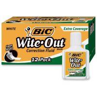 BIC Wite-Out Extra Coverage Correction Fluid, 20 ml Bottle, White, 1/Dozen BICWOFEC12WE