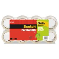 """Scotch Sure Start Packaging Tape, 1.88"""" x 54.6yds, 3"""" Core, Clear, 8/Pack MMM34508"""