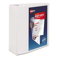 "Avery Heavy-Duty 3-Ring View Binder w/Locking 1-Touch EZD Rings, 5"" Capacity, White AVE79106"