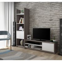 Bestar Small Space 2-Piece TV Stand and Storage Tower Set in Bark Gray and White BESBES1685247