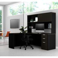 Bestar Pro-Concept Plus L-Desk with Hutch in Deep Grey & Black BESBES11088632