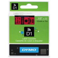 "DYMO D1 High-Performance Polyester Removable Label Tape, 1/2"" x 23 ft, Black on Red DYM45017"