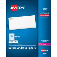Avery Address Labels for Laser Printers, 1/2 x 1 3/4, White, 20000/Box AVE5967