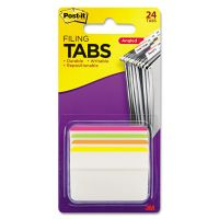 Post-it Tabs Angled Tabs, 2 x 1 1/2, Striped, Assorted Brights, 24/Pack MMM686A1BB