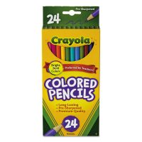Crayola Long Barrel Colored Woodcase Pencils, 3.3 mm, 24 Assorted Colors/Set CYO684024