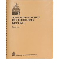 Dome Simplified Monthly Bookkeeping Record, Tan Vinyl Cover, 128 Pages, 8 1/2 x 11 DOM612